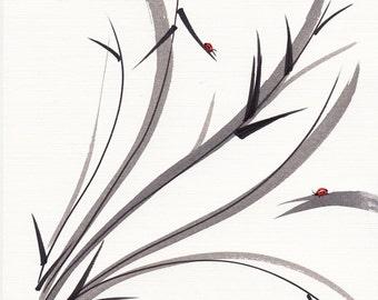 MY DEAR FRIEND - Original ladybug bamboo Asian sumi-e painting