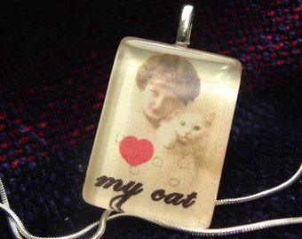 Love my cat (girl with cat) Pendant with snake chain necklace
