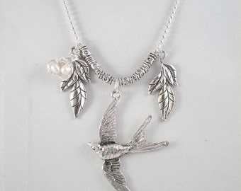 Antique Silver Large Bird  Wire Wrapped Pearl Egg Nest with Leaf ( Free shipping)