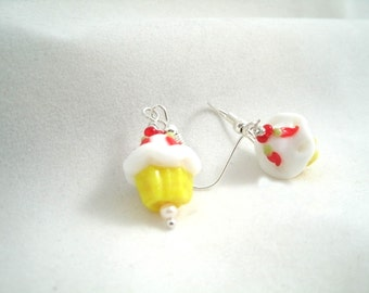 Cupcake Earrings Lampwork Glass Sunshine Yellow  with cherry top dangle earring set
