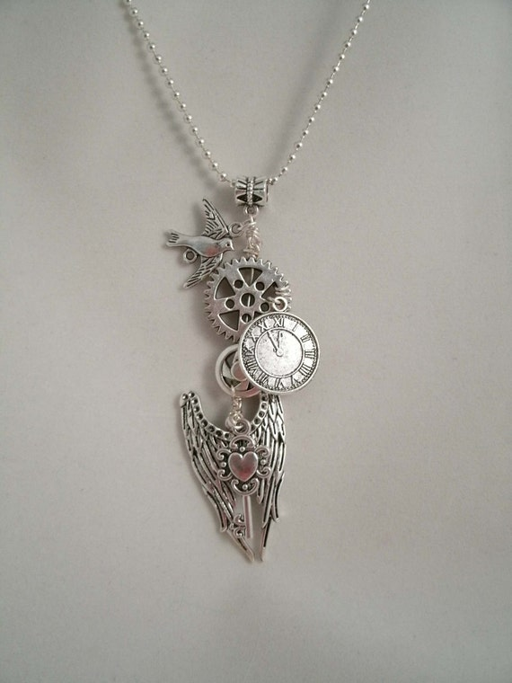 Angel Wings of Time Wire Wrapped Steampunk Necklace Pendant.