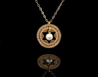 Judaica Star Gold necklace, Pearl necklace, Unique Jewish jewelry, Religious jewelry, Jewish jewelry, Judaica jewelry, Inspirational