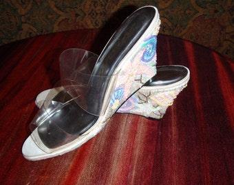 Vintage sequin seashell wedge slides