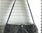 Upcycled Purse Made from a Vintage Gray Corduroy Skirt