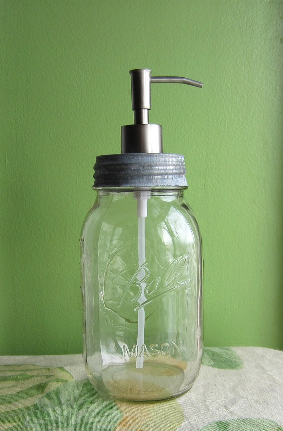 Upcycled Ball Mason Quart Jar Soap Dispenser