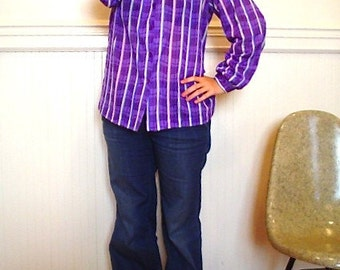CLEARANCE Vintage 1980s Purple Striped Secretary Blouse Top