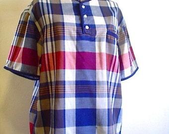 Vintage Plaid Checkered JANTZEN Smock Blouse Tunic