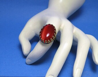 Orange Cats Eye Cabochon Ring Ornate Gothic Victorian Style Handcrafted Adjustable Finger Ring