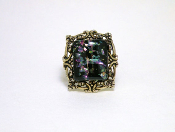BIG Black Confetti Lucite Ring OOAK