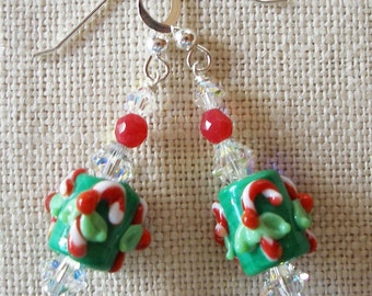 Candy Cane Earrings, Candycane, Christmas Earrings, Holly