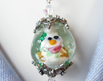 Snowglobe Pendant, Necklace with Snowgirl and Falling Snow, Snowglobe Necklace, Winter Necklace, Snowgirl