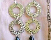 Earrings Hammered Metal Rings, Vintage Black Teardrops