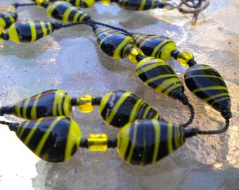 Necklace Black Yellow Hand Knotted Beads