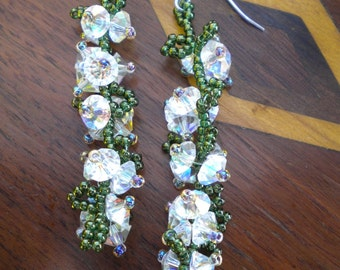 Earrings Crystal AB Marguerites Cascading White Hydrangea