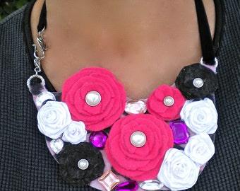 Necklace Bib Pink White Fabric Flowers Ecofriendly