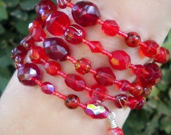Bracelet Red Cuff Beaded Wrap