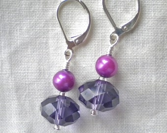 Earrings Purple Crystals and Pearls - She Loves Purple