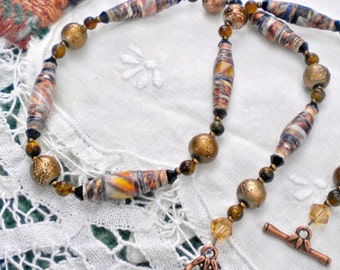 Necklace Earthtone Hand Rolled Paper Beads Faux Marble
