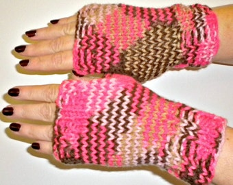 Gloves Fingerless Pink Brown Knit Cherry Mocha
