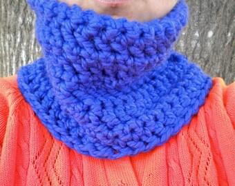 Cowl Neckwarmer Blue Crochet Bulky Lamb's Wool Blend