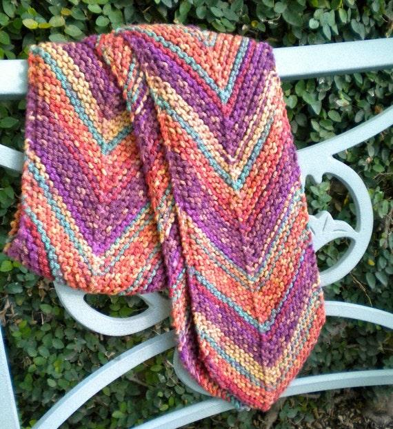 Scarf Purple Rust Autumn Vineyard Hand Knit