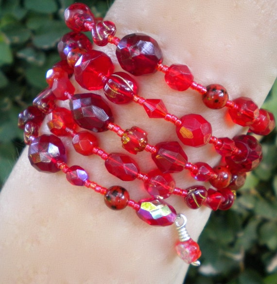 Bracelet Red Cuff Beaded Wrap