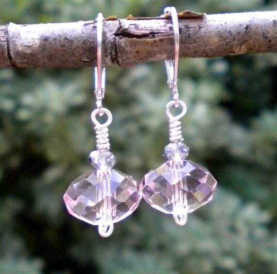 Earrings Pink Crystal Rondelles Rose Ice