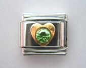 D'linQ - Heart with Green Rhinestone - Italian Charm Bracelet 9mm Link