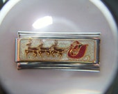 Authentic Casa D Oro - Santa with Sled and Reindeer - Italian Charm 18mm Link