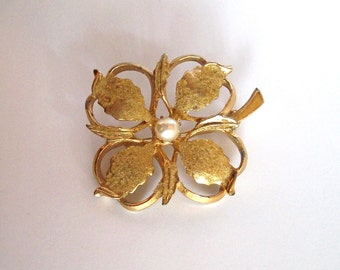 Kramer of New York Brooch - Stylized Floral Bloom with Faux Pearl - Vintage 1960s
