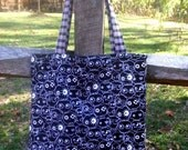 Reserved Black Skulls and Pink Plaid Tote