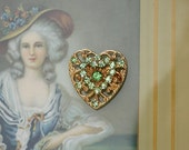Vintage Heart Brooch with Green Rhinestones