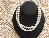 Vintage Faceted Beads Milk Glass Choker Necklace (Price Reduced)