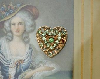 Vintage Heart Brooch with Green Rhinestones