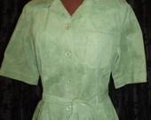 SALE - Cache D'Or Vintage 70s Faux Suede Shirt Dress - Apple Green Size M-L