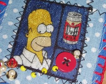Mmm, Beer - Homer Simpson Fabric Art Brooch Large