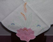 Merribee Hand Embroidered and AppliqueLuncheon Cloth Vintage 1950s