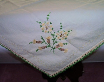 HAND EMBROIDERED Luncheon Cloth with Crocheted Edge