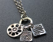 Swirl Squiggle Cog Sterling Silver Charm Necklace. Gifts for her under 50. Ready to Ship