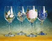 Vintage Rose - Custom Design - Garden Party - Wedding Glasses