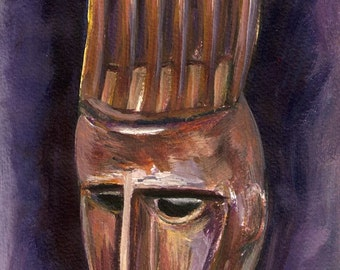 African mask Art, Tribal, acrylic painting