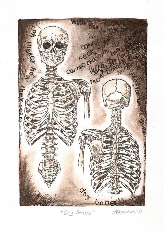 Anatomy Art, Dry Bones, Skeleton drawing, The neck bone is connected to the head bone letterpress words.