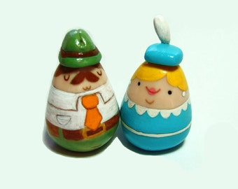 Adorable Figurine Couple or Wedding Cake Topper - READY TO SHIP -  by The Happy Acorn