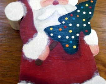Hand Painted Santa Christmas Tree Ornament Wood |Christmas Tree|Holiday Decor