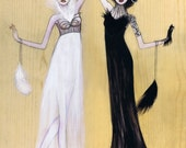 Odette and Odile Black Swan Lake Fashion Illustration Print 11x14