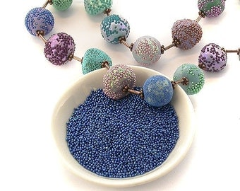 Micro Beads - Large Holeless Decorative Glass Glitter Beads - Solvent Resistant For Polymer Clay, Resin, Crafts. Lots of Colours - No Hole