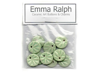 Handmade Aqua Green Ceramic Charm Components for Jewellery Making - Glazed Stoneware Clay Charms by Emma Ralph SRA UK Beadmaker