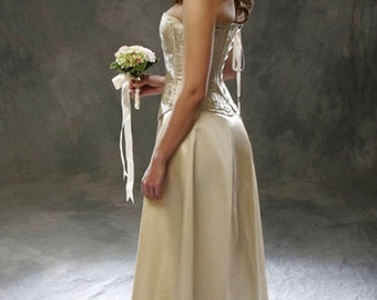 Bridal Gown Corset Ensemble, Brocade corset and simple skirt, free fitting and mockup