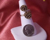 Vintage Double Seed Pod Adjustable Costume Ring
