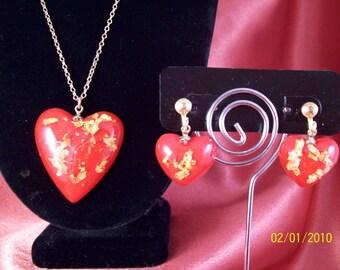 Vintage Red Heart Demi Parure